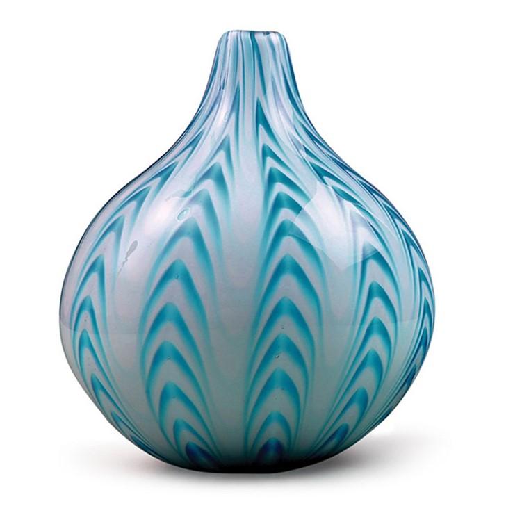 Chevron Teardrop Vase Largo Teal Dynasty Gallery