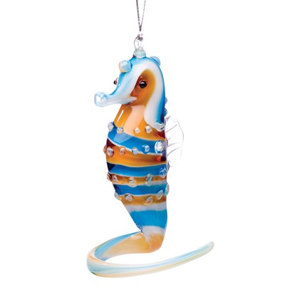 Glassdelights Ornament Seahorse - Blue