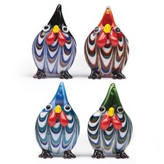 Mini Feathered Rooster, Set Of 4