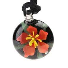 Floral Pendant - Orange Flower With Leaf BLK