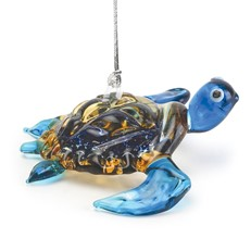 Glassdelights Ornament Baby Sea Turtle - Blue