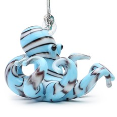 Glassdelights Ornament - Blue Striped Octopus