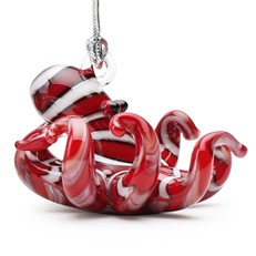 Glassdelights Ornament - Red Striped Octopus