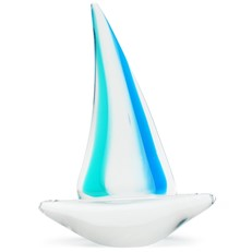 Small Sailboat Glass Figurine - Teal Glow