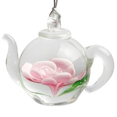 Teapot Ornament - Pink Flower