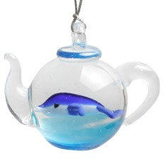 Glassdelights Ornament Teapot - Dolphin