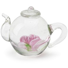 Mini Teapot Flower Figurine - Pink