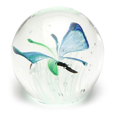 Small Paperweight - Butterfly Blue Glow