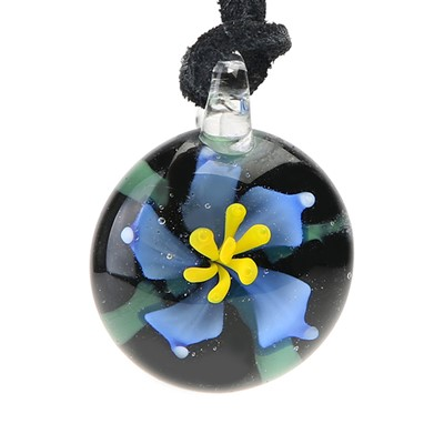 Floral Pendant - Blue Flower With Leaf BLK