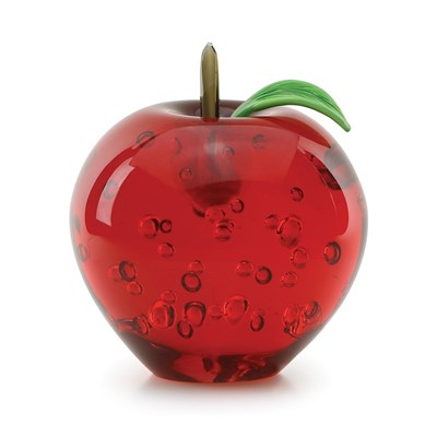 Red Apple with Glass Stem & Leaf