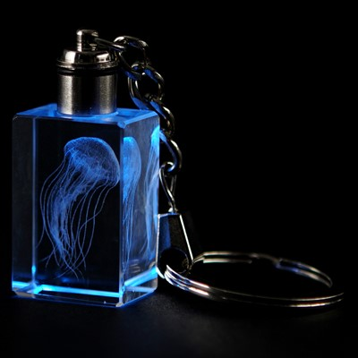 Crystal Keychain - Sea Nettle, Blue LED