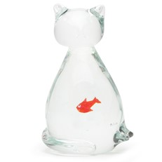 Glass Cat Figurine With Fish
