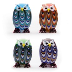 Mini Feathered Owls - Set Of 4