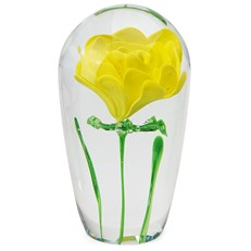 Long Stem Paperweight - Yellow Rose