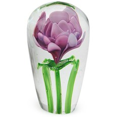 Long Stem Paperweight - Pink Rose
