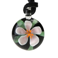 Floral Pendant - White/Red Flower With Leaf BLK
