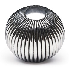 Metal - Orb Ribbed Silver 4in