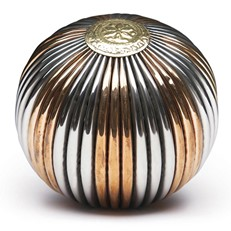 Metal - Orb Ribbed Silver/Copper 4in
