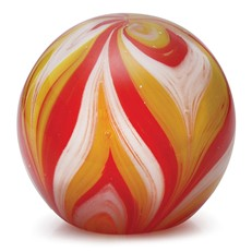 Large Paperweight - Feathers Yellow & Red Glow