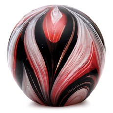 Large Paperweight - Feathers Black & Red Glow