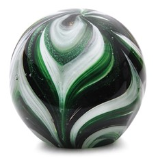 Large Paperweight - Feathers Emerald Green Glow