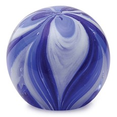 Small Paperweight - Feathers Cobalt & Navy Blue Glow