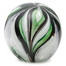 Small Paperweight - Feathers Emerald & Green Glow