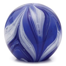 Large Paperweight - Feathers Cobalt & Navy Blue Glow