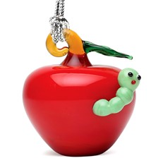 Glassdelights Ornament Apple With Worm
