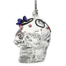 Glassdelights Ornament - Skull with Blue Flower