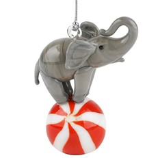 Glassdelights Ornament - Elephant on Ball