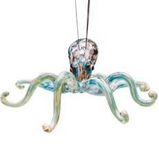 Glassdelights Ornament - Octopus, Blue