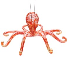 Glassdelights Ornament - Octopus, Red