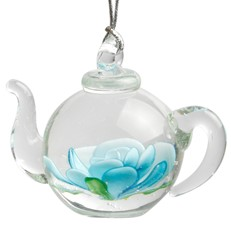 Teapot Ornament - Blue Flower
