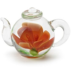 Mini Teapot Flower Figurine - Red