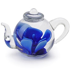 Mini Teapot Flower Figurine - Blue