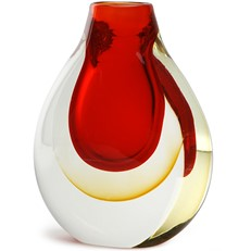 Halo Teardrop Vase - Red/Amber