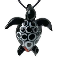 Sea Turtle Pendant - Black/White