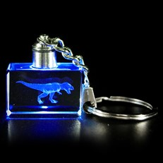 Crystal Keychain - T-Rex Blue LED