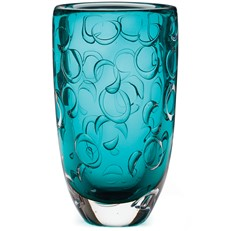 Glass Funnel Ring Vase Teal