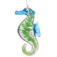 Glassdelights Ornament - Seahorse, Green