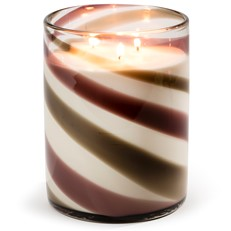 Glisten+Glass Glass 3-Wick Candle, Purple Grey Swirl - Madagascar Vanilla
